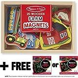 Farm Wooden 20 Magnets-in-a-Box Gift Set + FREE Melissa & Doug Scratch Art Mini-Pad Bundle [2791]