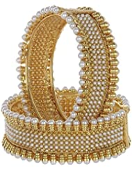 Chirag Jewellery Traditional Gold Plated Pearl Bangles CJTGPB003