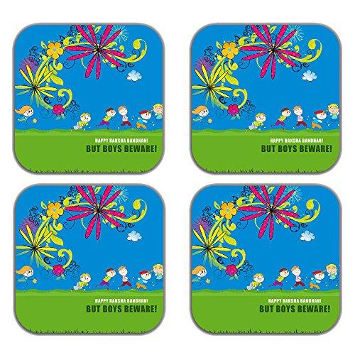 MeSleep Love Rakhi Wooden Coaster-Set Of 4