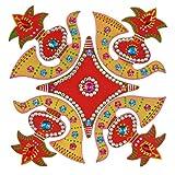Creations 5 Piece Wooden Rangoli With Kundan Work RAN0001 (30 Cm * 30 Cm * 0.5 Cm)