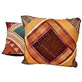 Ufc Mart Jaipuri Design Brocade Cushion Cover 2 Pc. Set, Color: Multi-Color, #Ufc00470