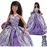 E Ting Purple Big Bow Party Clothes Wedding Princess Gown Dress For Barbie Doll