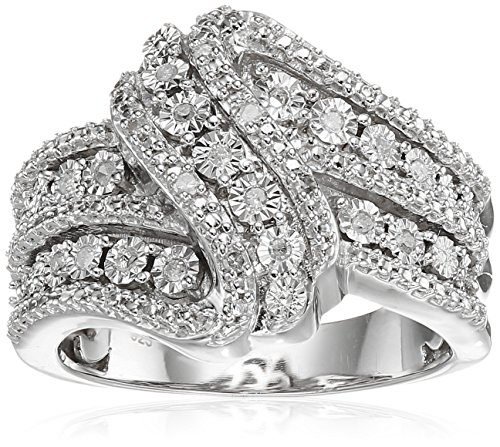 Classic Twist with White Diamond Sterling Silver Ring (1/10cttw, I-J Color, I2-I3 Clarity), Size 8