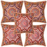 Handmade Mirror Work Embroidery Cushion Cover 16 Inches Set 5 Pcs