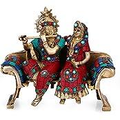 "Collectible India 8"" Beautiful Radha Krishna Brass Idol Wedding Gift - Radha Krishna Statue - Symbol Of Love Hindu..."