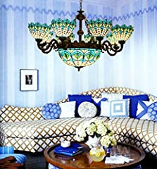 Makenier Vintage Tiffany Mediterranean Style Peacock Blue Stained Glass 8 Arms Chandelier with 16 Inches Inverted Ceiling Pendant Lamp