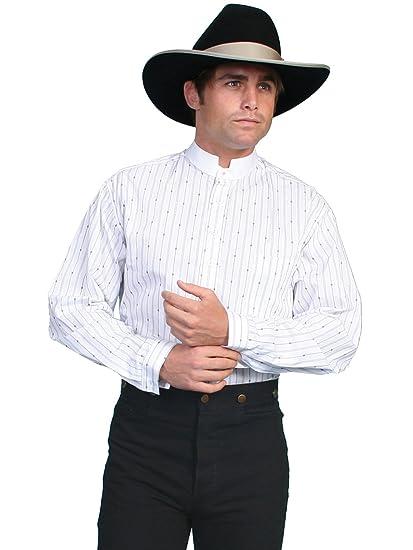 Victorian Men's Shirts- Wingtip, Gambler, Bib, Collarless Pinkerton Stripe Shirt  AT vintagedancer.com