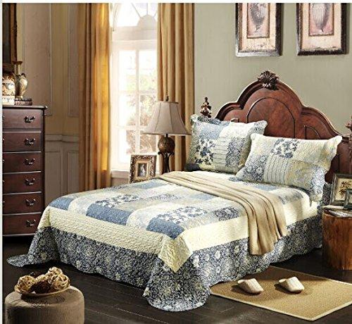 Tache 3 Piece Floral Seaside Villa Reversible Bedspread Set,Queen