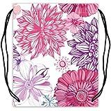 Dahlia Floral Pattern Basketball Carrying Drawstring Backpack Bag String Sack Cinch Bag For Sports Or Traveling...