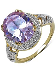 Suraabi 6.30CTW Purple Cubic Zirconia 14K Yellow Gold Plated Brass Ring For Women