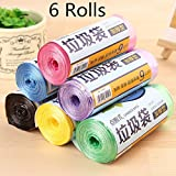 6 Rolls 180 Pcs PVC Garbage Trash Cans Rubbish Bag Home Kitchen Office Clean-up