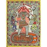 "Dolls Of India ""Chhinnamasta Kali"" Madhubani Folk Art On Paper - Unframed (73.66 X 55.88 Centimeters)"