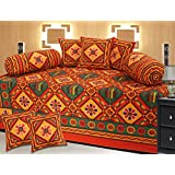Mable 100% Cotton Red With Yellow Coloured With Forest Diwan Set With 1 Diwan Sheet, 2 Bolster Cover, 5 Cushion...