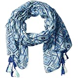 San Diego Hat Company Women's Scarf With All Over Print And Tassels, Blue, One Size
