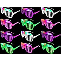 Set Of 12 VT Flashing LED Multi Color Slotted Shutter Light Up Show Party Favor Toy Glasses Colors May Vary