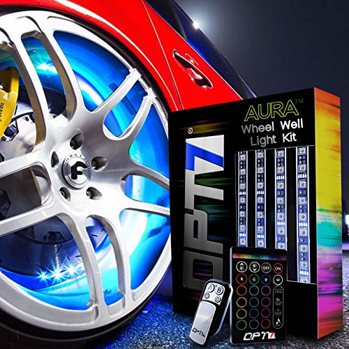 OPT7 3-Into-1 AuraColor™ Wheel Well LED Kit | 4pc Complete 24″ All-Color Strips w/SoundSync