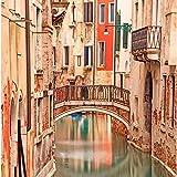 ArtzFolio Venice Bridge On Water Canal - Medium Size 18.0 Inch X 18.2 Inch - FRAMED PREMIUM CANVAS Wall Artwork...