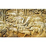 Pitaara Box Elephant - MEDIUM Size 19.3 Inch X 12.0 Inch - FRAMED CANVAS Wall Paintings With 6mm (0.24 Inch) THICK MDF MOUNTING FRAME : DIGITAL PRINT Wall Posters Art Panel Like Hand Paintings : Home Interior Wall Décor Photo Gifts & Decorative