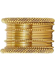 JDX Traditional Wedding Gold-Plated Bangles Bracelets Set For Women (6.10 CM)