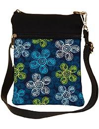 Snoogg Multicolor Flowers Cross Body Tote Bag / Shoulder Sling Carry Bag
