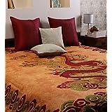 Uttam Enterprises Cotton Double Tie-Dye Dragon Print Brown Color 90X83 Inch Jaipuri Bedsheet