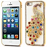 Generic Bling Diamond 3D Peacock Leather Coated Plated Hard Case For IPhone 5 5s (White)