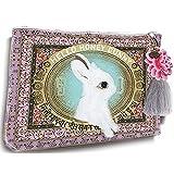 Papaya Art Honey Bunny White Rabbit Oil Cloth Travel Pouch Cosmetic Make-up Bag