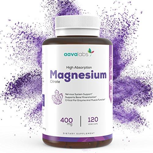 Magnesiumcitrat Kapseln [ 400 mg ] von Aava Labs - Reiner Nährstoff, nicht gestreckt - Für Muskel und Nerven Funktion, zur Entspannung und bei Schlafstörungen - 100% Vegan und ohne Gentechnik - Hergestellt in der EU - 120 Rein pflanzliche Kapseln.