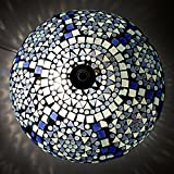 EarthenMetal Handcrafted Mosaic Decorated Circular Blue Glass Ceiling Lamp