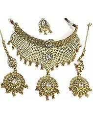 Shingar Jewellery Ksvk Jewels Antique Gold Plated Polki Kundan Look Necklace Set For Women