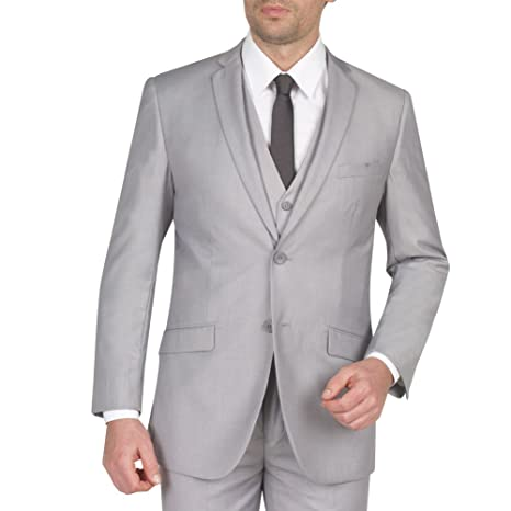 Mens Suit 2 Button 3 Piece Slim Fit 44R Light Grey