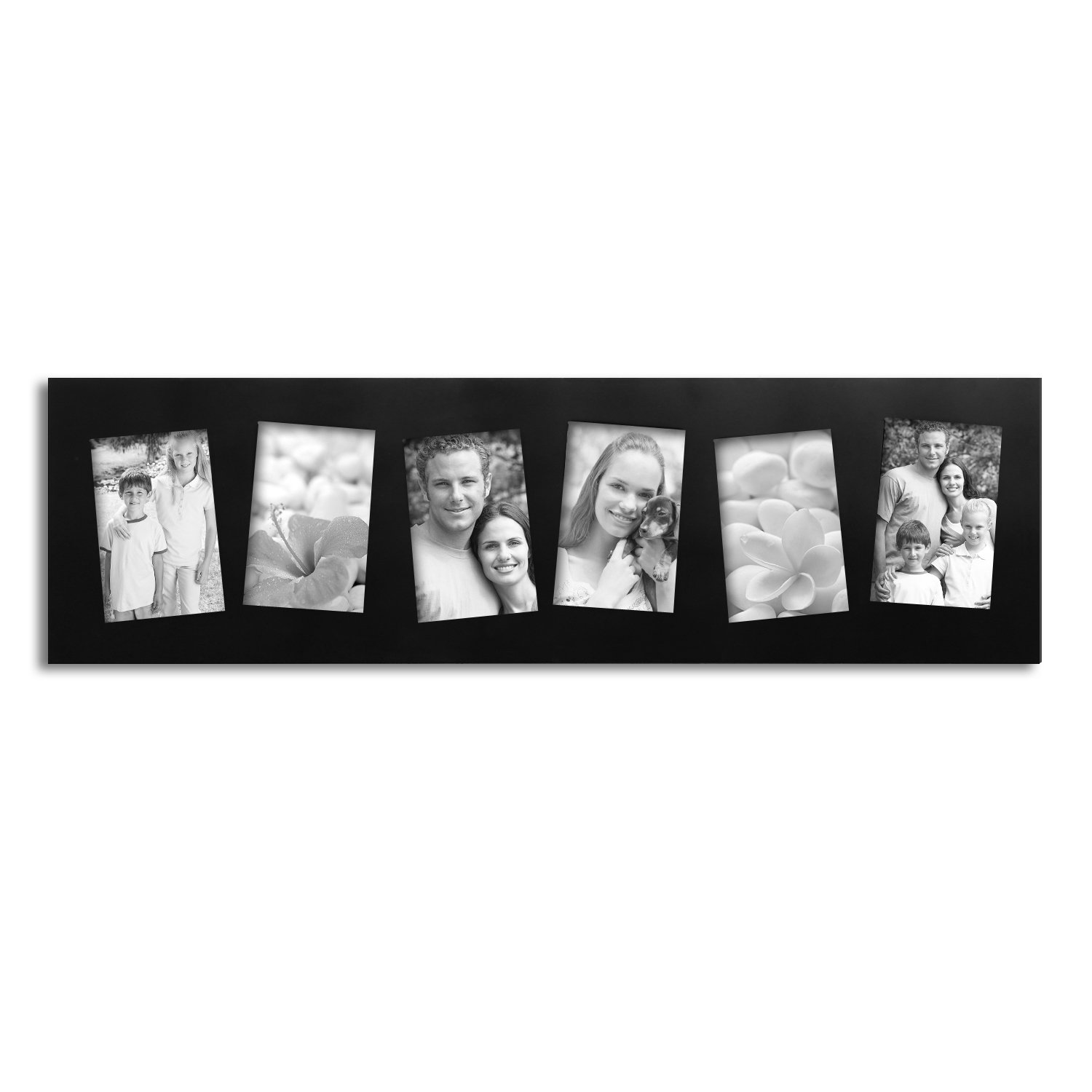 Adeco 6 Opening 4x6 Tilted Black Wood Wall Collage Picture Photo