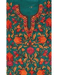 Exotic India Parasailing-Green Two-Piece Salwar Kameez Fabric From Kashm - Green