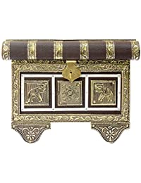 Aspire Solution Wooden Rajasthani Bangle Box (15 Cm X 22 Cm X 16 Cm, Brown And Golden)