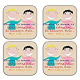 MeSleep Father Wooden Coaster-Set Of 4