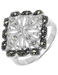 4.90 Grams Marcasite & White Cubic Zircon .925 Sterling Silver Ring - B00XPMBWHK