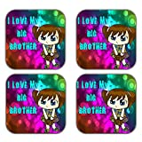 MeSleep I Love My Brother Wooden Coaster-Set Of 4