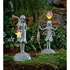 Flower Fairy Garden Statue With Solar Lantern