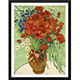 Tallenge - Vase With Daisies And Poppies By Vincent Van Gogh - Small Size Ready-to-hang Framed Digital Art Print On Photographic Paper For Home And Office Décor (9x12 Inches)
