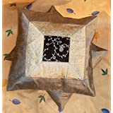 CRAFT OPTIONS SILK BROCADE EMBOIDERED CUSHION COVER (2 PIECES ,GREY/SILVER)