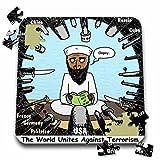 Rich Diesslins Funny General - Editorial Cartoons - Osama Bin Stupid - World Turns Unites Against Terrorism briefly - 10x10 Inch Puzzle (pzl_2806_2)