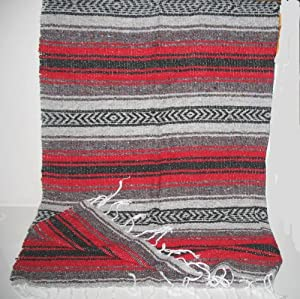 Amazon.com - Large Red/black Mexican Falsa Blanket Yoga