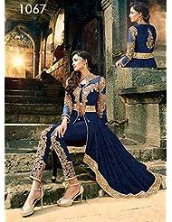 Rozdeal Navy Blue Colour Beautiful Georgette Anarkali Suit