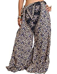 Exotic India Casual Palazzo Pants From Pilkhuwa With Printed Flowers And Elephan