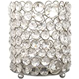 CONJURE Iron And Crystal Candle Holder (13 Cm X 13 Cm X 14.5 Cm, Silver)