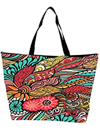 Snoogg Vector Seamless Texture With Abstract Flowers Endless Background Ethnic Sea Waterproof Bag Made Of High... - B01I1KHIGY