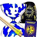 Juggle Dream Jester Diabolo Set Blue/White! With Wooden Diablo Sticks + Mr Babache Diabolo Book Of Tricks + Flames...