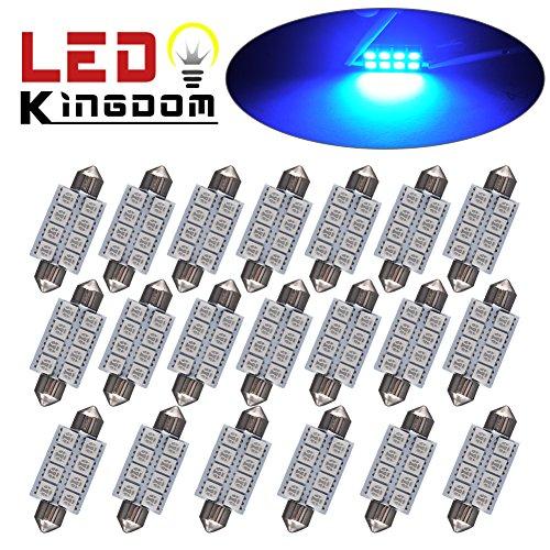 LEDKINGDOMUS 20x 1.66″ 42mm 8-SMD Festoon Ultra Blue LED Interior Map Dome Lights Bulbs 211-2 578
