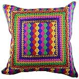 Aaiye Ghar Sajaiye Raw Silk Cushion Cover (16 Inches X 16 Inches)