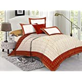 Lotus 110 TC Cotton Double Bed Sheet With 2 Pillow Covers - Queen, Brown & Beige